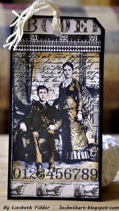 Halloween theme - dark - Darkroom Door 'Henry  Harriet' Collage Stamp DDCS007. Tag created by Liesbeth Fidder.