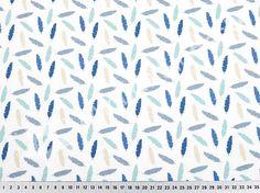 Michas Stoffecke -  Baumwoll-Webware bunte Federn auf weiß - royalblau-jeansblau S-FR-LG8441002