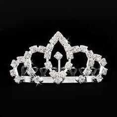 Rhinestone Crystal Diamante Corona nupcial peine el cabello Tuck peine para parte #2