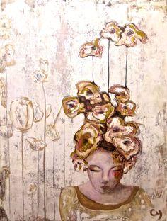Pavo par Christyne Proulx / ©2016/ technique mixte sur bois /36X48 / figurative, contemporary art, acrylique, art painting, Street Art (Urban Art), Canvas, Women, Portraits, femme, street art, patchwork, peinture, contemporain, abstrait, tableau street art,expressionnisme