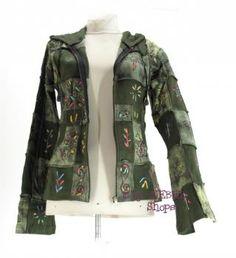 Damen Patchwork Sweatshirt Jacke bzw. Kapuzen Shirt 'Asifa' mit Zipfelmützen Kapuze, diverse Farben - Hoody Jacken Ethno Hippie Kleidung - Esoterik Kleidung - Alternative Kleidung Goa Mode
