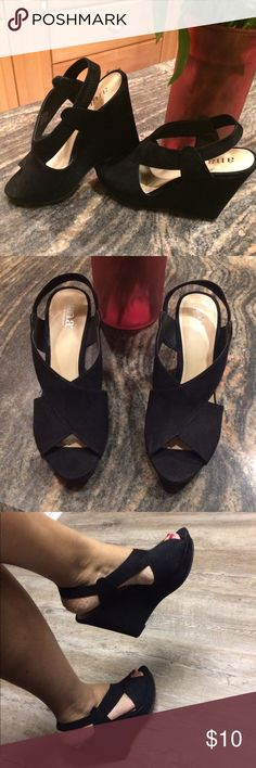 Basic Black Wedge Sz 8 Suede Like New Basic Black Wedge Sandals Sz 8 by A.N.A. Suede Upper with 5in heel. Excellent Condition a.n.a Shoes Wedges