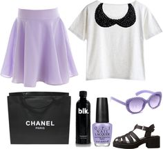 """""""LILAC AND BLACK."""" by pretty-basic ❤ liked on Polyvore"""