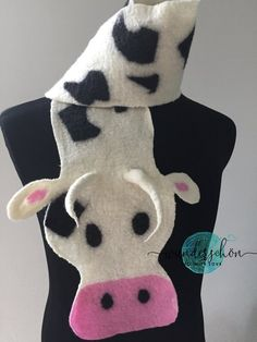 Felted merino wool Cow scarf unique handmade child gift | Etsy