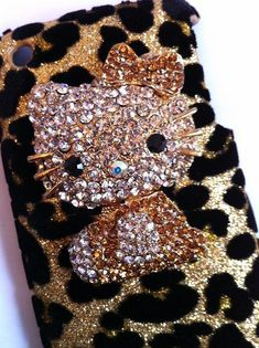 Gold Leopard Furry Skin Rhinestones Jewel Hello Kitty Phone Case for iPhone 3G / 3GS
