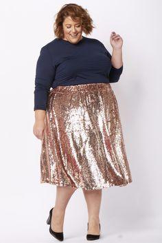 c6e997fe0ba Mermaiden Sequin Skirt - Rose Gold. Plus Size Clothing for Women -  Mermaiden Sequin Midi Skirt - Rose Gold - Society+ - Society Plus - Buy  Online Now!