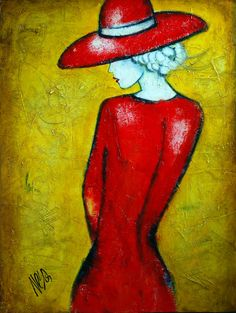 Lady In Red Dress Painting
