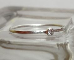 2mm Moissanite Bezel Set Skinny Sterling Silver Stacking Ring, $55