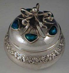 Omar Ramsden & Alwyn Carr Arts & Crafts Sterling Silver & Enamel Box