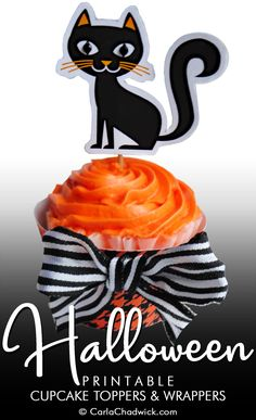 Printable Halloween Black Cat Cupcake Toppers and Wrappers from the Kindle Book *Printable Year-Round Cupcake Toppers and Wrappers* | Includes downloadable files, instructions and tips for embellishment       #Halloween #HalloweenFoodIdeas #HalloweenCupcakeIdeas #BlackCat #HalloweenParty #CupcakeIdeas #CupcakeToppers #CupcakeDecorations #CarlaChadwick