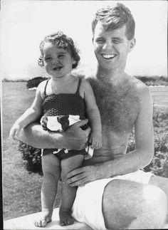 Bobby Kennedy and his eldest,little Kathleen, around 1952.