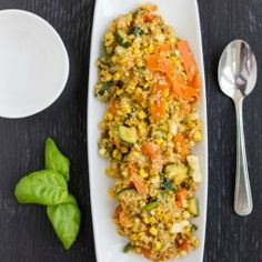 Sauteed corn, a medley of vegetables, and delicious quinoa makes this vegan and gluten-free meal a perfect side or an ideal main course.