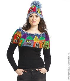 I don't know if this horrible or fabulous but I'm saving it anyway Knit Vest Pattern, Crochet Jacket, Crochet Shawl, Knit Crochet, Crochet Girls, Crochet Woman, Intarsia Knitting, Knit Basket, Knitted Coat