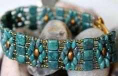 Beautiful CzechMate Tile Band Flower Bracelet by ReggiesCreations