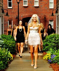 -Bachlorette Party.. love idea of the bride in champagne and the bridal party in black.