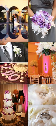 A lux wedding with purple and white flowers and bouquets decorated in white feathers, crystals and rhinestones