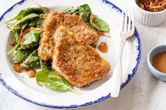 Sesame-Crusted Pork Cutlets with Crispy Shallots! Fast, easy midweek meal. Serve with a quick spinach salad.
