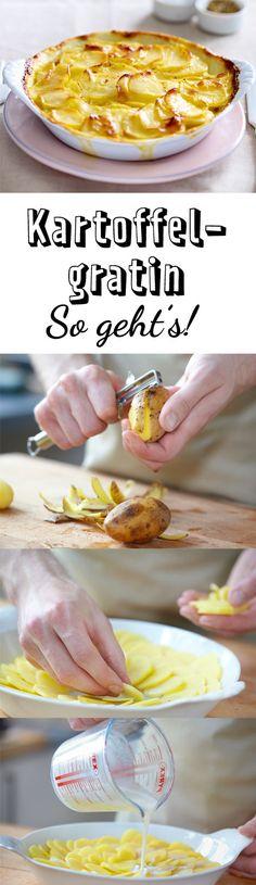 Leckere Beilage aus Kartoffeln - mit diesem Rezept geht Kartoffelgratin kochen ganz einfach! Vegetarian Recipes, Snack Recipes, Cooking Recipes, Snacks, Vegetable Side Dishes, Food Inspiration, Food Porn, Food And Drink, Favorite Recipes