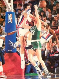 Bill Laimbeer, Dennis Rodman (Detroit Pistons) and Larry Bird