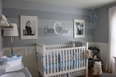 Boy Gray Striped Nursery Crib View