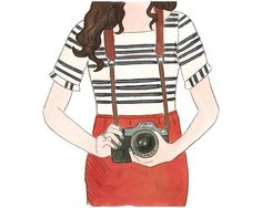 Photographer Print 8 x 10 , Camera Painting , Whimsical Illustration , Art Print Giclee Print