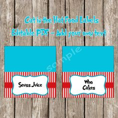 Dr. Seuss Cat in the Hat Food Labels Tent Cards *Add Your Own Text* - Cat in the Hat Birthday Party - DIY Printable - Instant Download on Etsy, $6.00