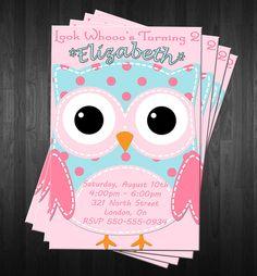 Owl Birthday Invitations PRINTABLE File DIY Girls Adorable Owl Birthday Invites. $10.00, via Etsy.