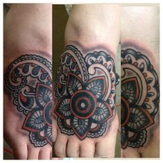 Paisley Style Foot Tattoo by KR Rossi