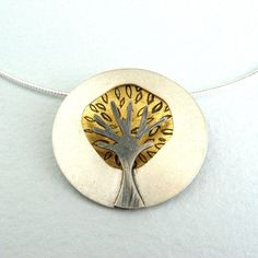 Gold dome tree pendant (with leaves) | Contemporary Necklaces / Pendants by contemporary jewellery designer Becky Crow
