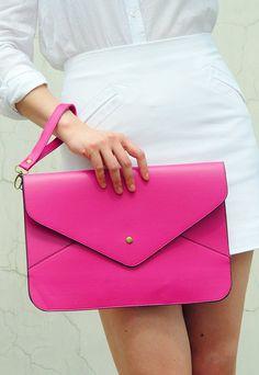 Oversize Vegan Leather Envelope Clutch  Rose Pink by EastWorkshop, $9.98