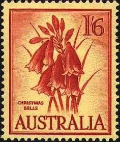 Australian Christmas Bells Stamp 1960 Blandfordia grandiflora (designer Maragaret Stones)
