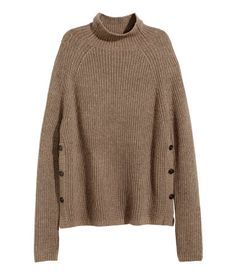 Rib-knit sweater in a soft cotton blend with alpaca wool content. Mock turtleneck, buttons at sides, and long sleeves. Brown. | Warm in H&M