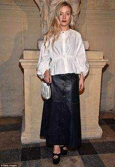 Fashionista: Stylist Kate Foley appeared to go for the same blouson sleeve blouse by Sonia Rykiel as Lady Amelia, but paired it instead with a leather midi-skirt