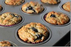 Blueberry banana muffins made with almond meal - gluten free, refined sugar free