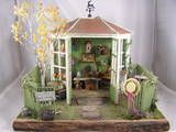The Garden Shed, a club project from Miniatures West of Culver City, Ca. I had great fun building this piece. It rests on a piece of wood with bark still attached, cool!