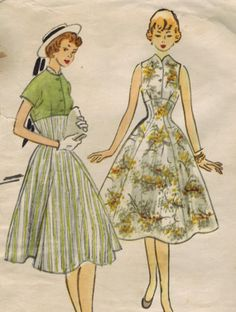 1950s McCall's 9714 Vintage Sewing Pattern Teen's Dress and Spencer Jacket Size 10 Bust 28