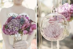 Burlap & Twine, soft rustic accents.  Wrap bouquets with burlap, finished with a purple ribbon? Single flower in orbs?