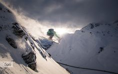 Sunset Powder Skiing Jump by Christoph Oberschneider on 500px