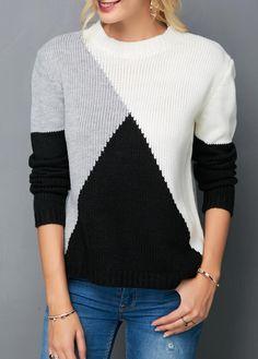 ca412e1fcdb0 Round Neck Color Block Long Sleeve Knitting Sweater