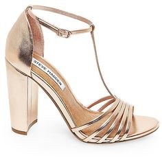 Steve Madden Women's Carmelaa Heels ($80) ❤ liked on Polyvore featuring shoes, pumps, rose gold, patent leather shoes, metallic shoes, dressy shoes, block heel pumps and block heel shoes