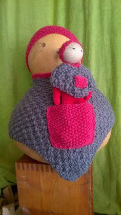 Poncho et Bonnet , tricot laine tout chaud et tout doux, pour enfant 2-4 ans