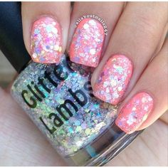 Marshmallow ABC's Glitter Indie Nail Polish by Glitter Lambs (€5,43) ❤ liked on Polyvore featuring beauty products, nail care, nail polish and makeup