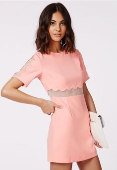 Verity Crepe Scallop Shift Dress Pastel Pink - Dresses - Shift Dresses - Missguided