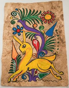 Amate Mexican folk art painting on Tree Bark Paper #NaivePrimitive