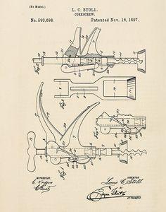 Vintage Wine Corkscrew Stoll Patent Print by michaelellisstudios