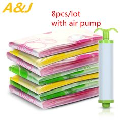 New 8pcs/lot  Vacuum Storage Bag Set with Air Pump S,M,LThickness Compressed Space Bag for Travel Storing Clothes Package