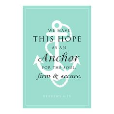 """Anchor for the Soul Scripture Verse - Anchor Typography """"Hope"""" Bible Verse Print Download 5X7"""