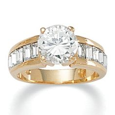1.75 TCW Cubic Zirconia 14k Yellow Gold-Plated Engagement Anniversary Ring on PalmBeach Jewelry