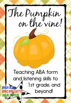 A fun song to teach ABA form!  Fall and harvest themed (not necessarily holiday) and a chance for you to add in new lyrics if you want!  Great activity for younger kiddos!
