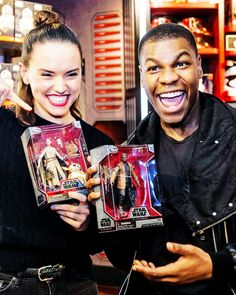 We found us!! Star Wars: The Force Awakens stars Daisy Ridley and John Boyega with their respective action figures at London's flagship Disney Store on Oxford Street on Force Friday
